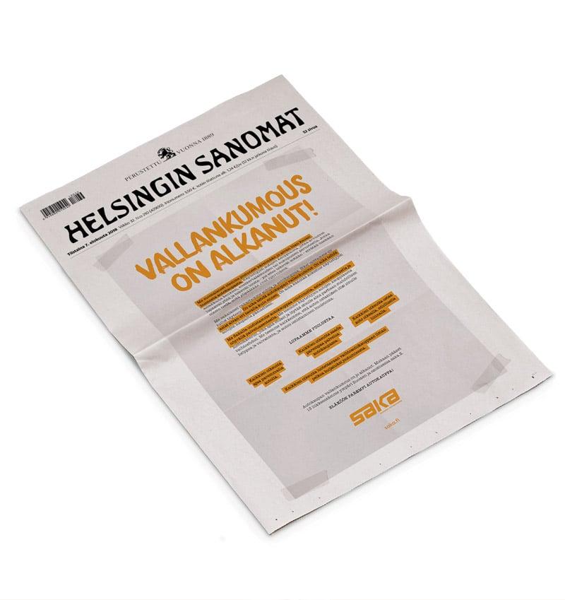 Saka Helsingin Sanomat mainos