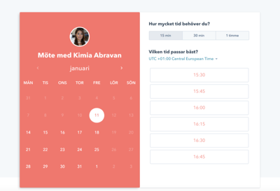 Kimia kalender meetings hubspot